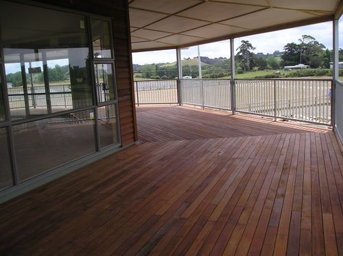 Papatoetoe pony club house wrap around deck, 8 side octagonal shape.