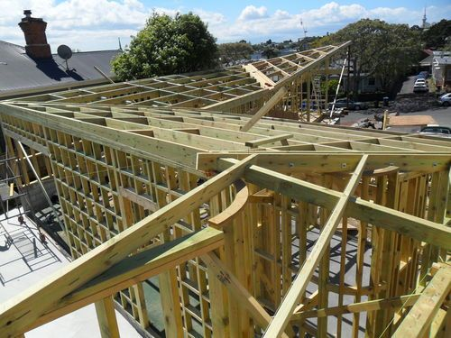 Prospect trc,Mt Eden. Z shaped angled house framed up