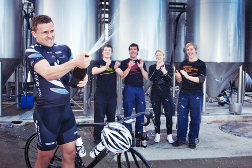 Simon van Velthooven (NZ Olympic Track Cyclist) at the Moa Brewery