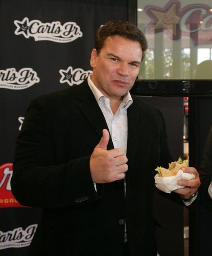 All Blacks Legend Michael Jones eating (and loving)  the Portobello Mushroom Burger