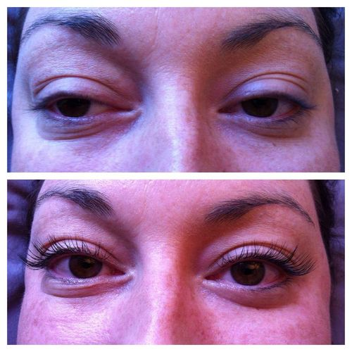 Semi-permanent lash extensions can create beautiful length and curl even for the straightest, unnoticeable lashes