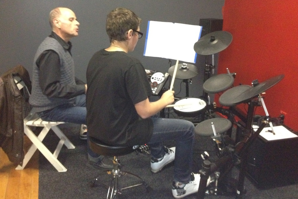 This is Rory having a drum lesson with one of the teachers from Galaxy Music School. He has been with us since the school opened and is constantly improving.