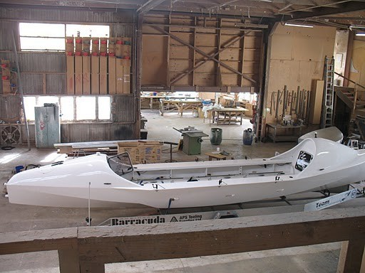 Before the new bright orange paint job - the Tasman boat in it's orginal white.