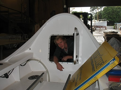 Rower James Blake tries the bow cabin for size.