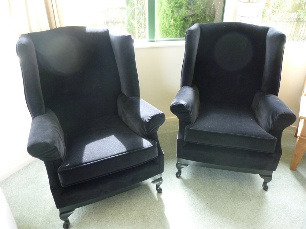 Completly Restored Wing Back Chairs in Black Velvet