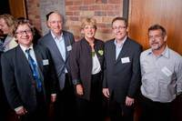 At the Youth Connections launch – left to right: Richard Llewellyn, Auckland Airport Community Trust, Sir Stephen Tindall, Tindall Foundation, Penny Hulse, Deputy Mayor, Martin Fryer, Auckland Airport Community Trust, Dave Richards, Tindall Foundatio