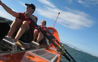Martin and James do their turn at the oars during a team training session.