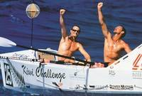 Rob Hamill and Phil Stubbs after winning the inaugural Atlantic Rowing Race in 41 days 2 hours 55 minutes - photo Jon Nash